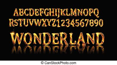 Wonderland font. Fairy ABC. Set of letters. Magical beast...
