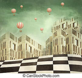 Illustration of a several modern buildings in a surreal landscape and many hot air balloons