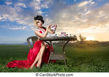 wonderland,  tea-party, donna