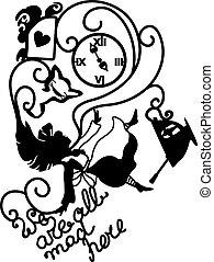 wonderland, vector, alice, illustratie
