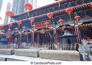 wong tai grzeszą rozciągacz, w, hongkong, na, dzień