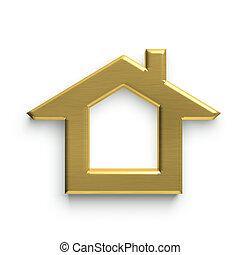 woning, 3d, logo., gouden