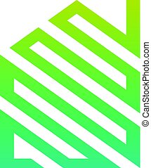 woning, abstract, groene, logo