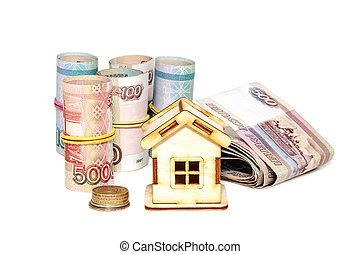 woning, achtergrond., geld, witte , eigendom, aankoop