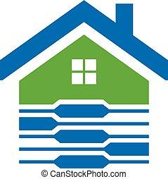 woning, beveiligd, beeld, logo