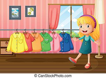 woning, binnen, naast, hangend, meisje, kleren
