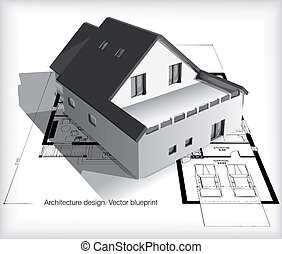 woning, blauwdruken, model, bovenzijde, architectuur