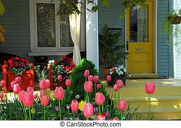 woning, bloemen, portiek