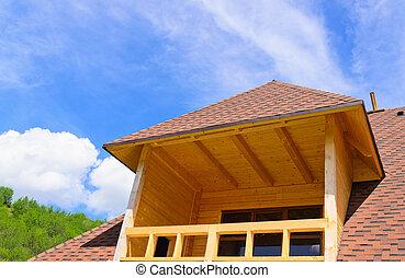 woning, bovenzijde, balkon, dakvenster