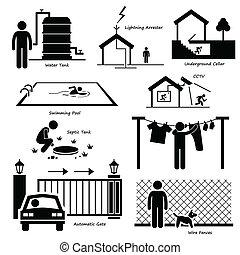 woning, buiten, infrastructuur, iconen