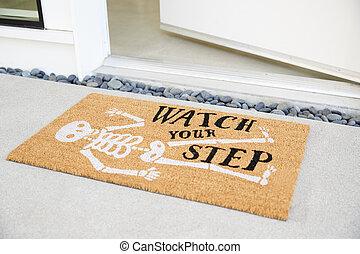 woning, buitenste deur, open, doormat, voorkant