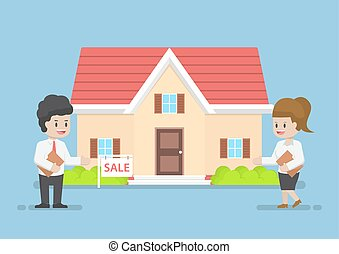 woning, businesswoman, zakenman, verkoop, het voorstellen