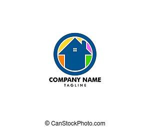 woning, cirkel, logo