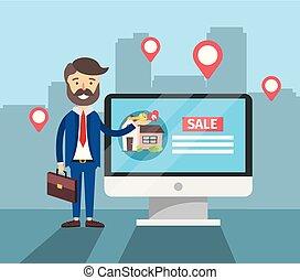 woning, computer, verkoop, zakenman, plaats