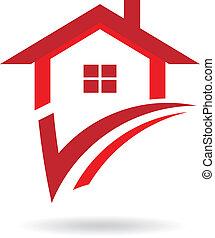 woning, controleren, logo