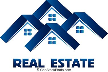 woning, echte landgoed zaak, logo