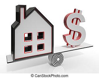 woning, en, dollar, het in evenwicht brengen, het tonen,...