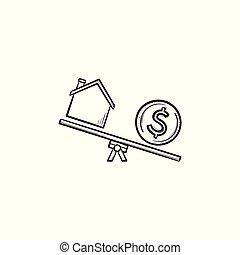 woning, en, dollar, op, seesaw, hand, getrokken, schets, doodle, icon.