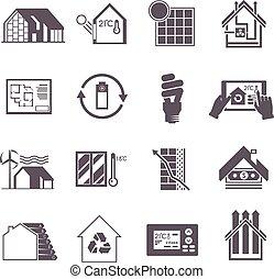 woning, energie, besparing, pictogram
