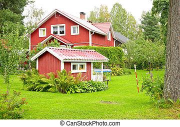 woning, finland, rood