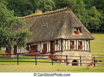 woning, franse , normandië, typisch