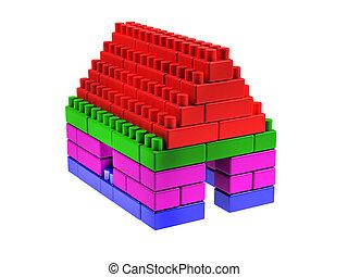 woning, gemaakt, blokjes, lego