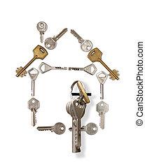 woning, gemaakt, van, sleutels