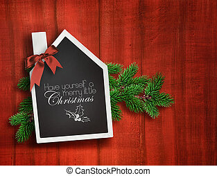 woning, gevormd, chalkboard, op, kerstmis, achtergrond