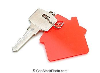 woning, gevormd, keychain, vrijstaand, op wit, achtergrond