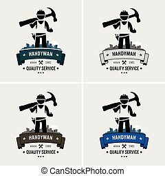 woning, handyman, repareren, professioneel, logo, design.