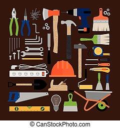woning, herstelling, gereedschap, werkende , iconen