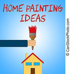 woning, het tonen, ideeën, illustratie, verf , thuis, schilderij, 3d