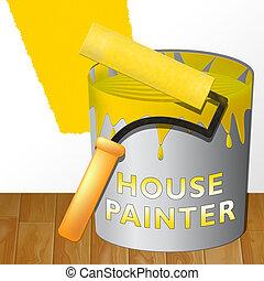 woning, het tonen, illustratie, thuis, schilderij, schilder, 3d