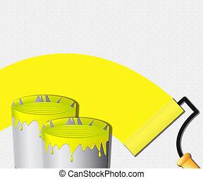 woning, het tonen, illustratie, verf , gele, schilderij, 3d