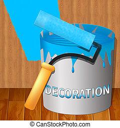 woning, het tonen, illustratie, versiering, thuis, schilderij, 3d