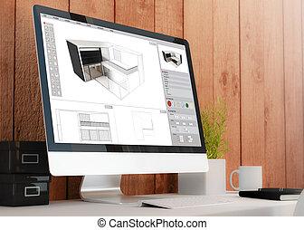 woning, het tonen, moderne, plan, computer, werkruimte