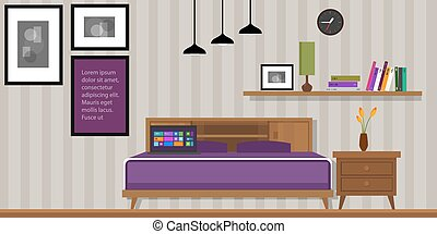 woning, homr, vector, slaapkamer, interieur, meubel