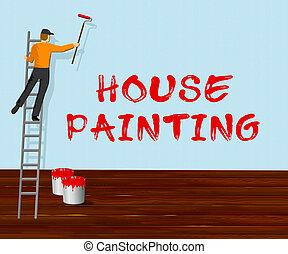 woning, illustratie, thuis, 3d, schilderij, schilder, optredens