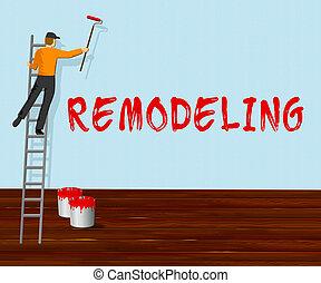 woning, illustratie, thuis, remodeler, 3d, remodeling, optredens