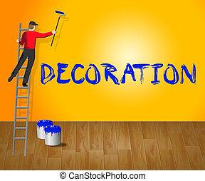 woning, illustratie, versiering, thuis, 3d, schilderij, optredens