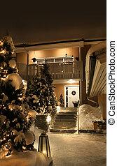 woning, ingang, kerstmis