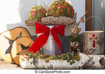 woning, ingang, wintery, decoraties, volgende