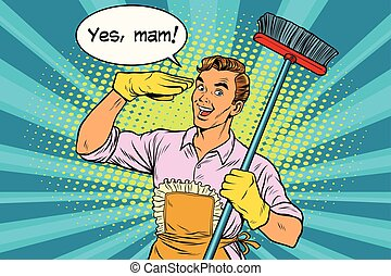 woning, ja, mam, poetsen, echtgenoot