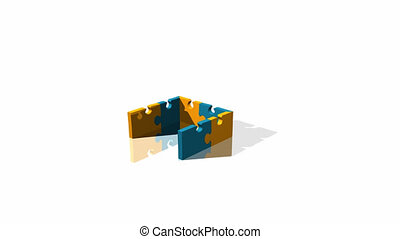 woning, jigsaw, 3d