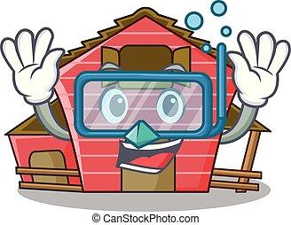 woning, karakter, duiken, spotprent, rode schuur