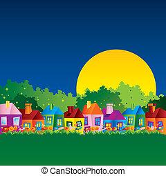 woning, karikatuur, achtergrond