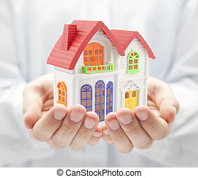 woning, kleurrijke, handen