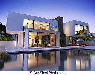 woning, kubus, pool, een