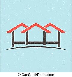 woning, logo., groep, huisen