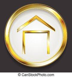 woning, logo, symbool, concept, gouden